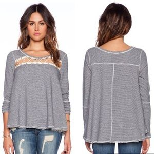 {Free People} Indigo Striped Cut Out Sweater